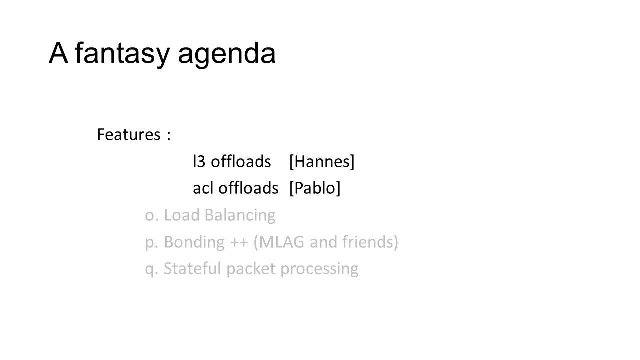 A fantasy agenda Features : l3 offloads [Hannes] acl offloads [Pablo]
